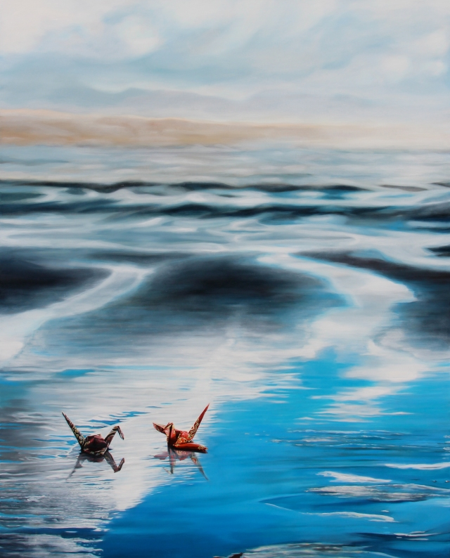 "Crane #22 (Oregon Coast), 48""x60"", Oil on Linen, on view at Thinkspace Gallery"