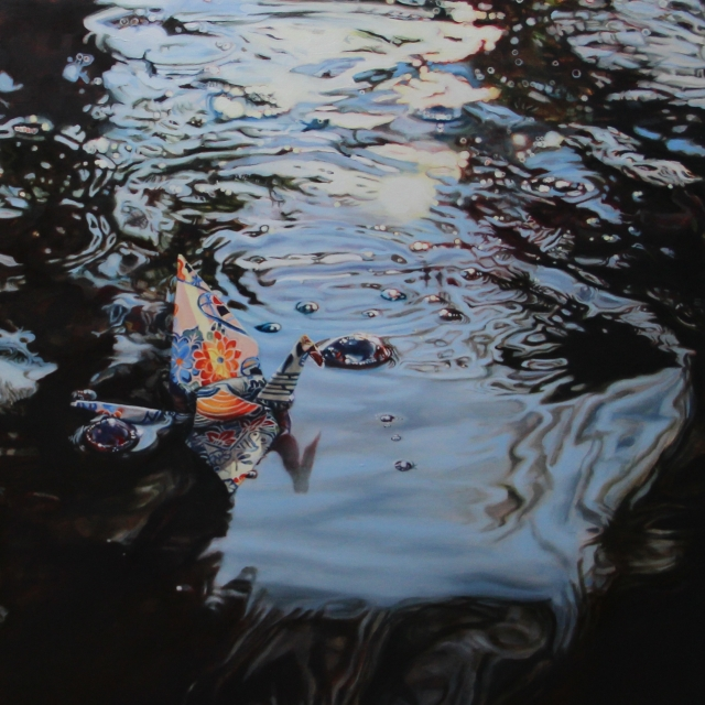 "Crane #24 (Koi Pond, Arizona), 14""x14"", Oil on Linen, on view at Thinkspace Gallery"