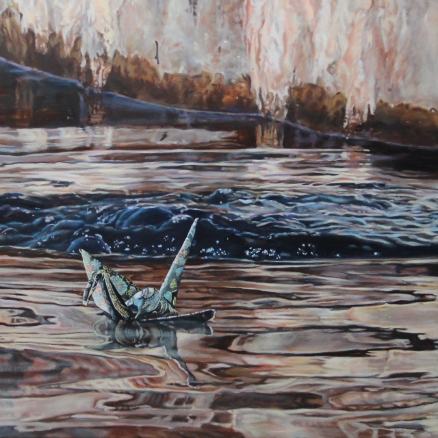 "Crane #25 (Palace of Fine Arts, San Francisco), 14""x14"", Oil on Linen, on view at Thinkspace Gallery"