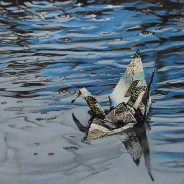 "Crane #28 (Amsterdam Canal, Netherlands), 10""x10"", Oil on Linen, on view at Thinkspace Gallery"