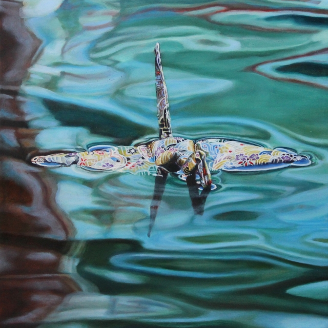 "Crane #29 (Amsterdam Canal, Netherlands), 10""x10"", Oil on Linen, on view at Thinkspace Gallery"