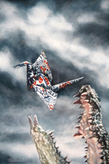 """Fly #1"" detail, 12""x22"", Oil on Linen, Thinkspace Gallery, Dreams of Flight, SOLD"