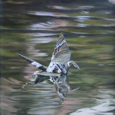 "Crane #10 (Venice Canals, CA) 12""x12"" Oil on Linen 2013"