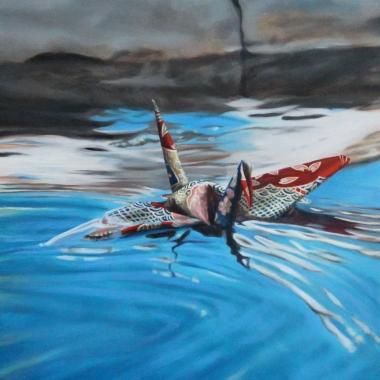 "Crane #15 (Venice Puddle, Italy) 12"" x12"" Oil on Linen 2014"