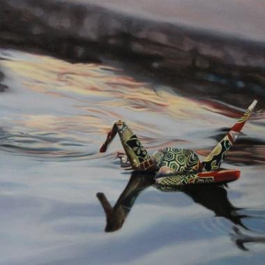 "Crane #16 (Venice Puddle, Italy) 12"" x12"" Oil on Linen 2014"