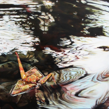 "Crane #17 (Koi Pond, Phoenix Zoo, CA) 14"" x14"" Oil on Linen 2014"