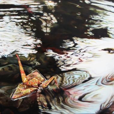 "Crane #17 (Koi Pond, Phoenix Zoo, CA) 14"" x14"" Oil on Linen 2014"