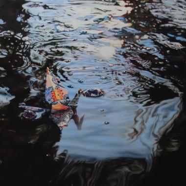 """Crane #24 (Koi Pond, Phoenix Zoo, AZ) 14"""" x14"""" Oil on Linen 2015"""