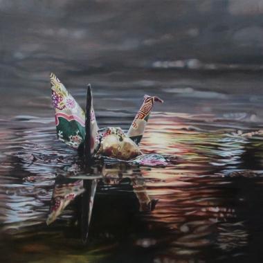"""Crane #26 (Drained Pond, Douglas Park, LA, CA) 12"""" x12"""" Oil on Linen 2015"""