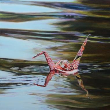"Crane #27 (Venice Canals, CA) 12"" x12"" Oil on Linen 2015"