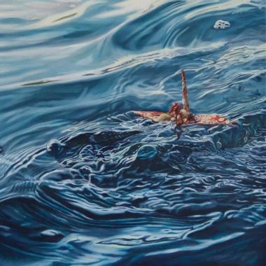"""Crane #32 (Morro Bay, CA) 20"""" x20"""" Oil on Linen 2016"""
