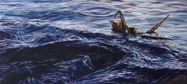 "Crane #42 (San Francisco Bay, CA), 26""x12"" Oil on Linen, 2018"