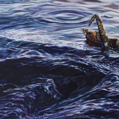 "Crane #42 (San Francisco Bay, CA), 26""x12"" Oil on Linen, 2018"
