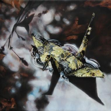 "Crane #6 (Lee Puddle, MA) 10""x10"" Oil on Linen 2012"