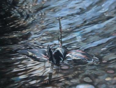 "Crane #9 (Vatican City Wishing Fountain, Italy) 16""x12"" Oil on Linen 2013"